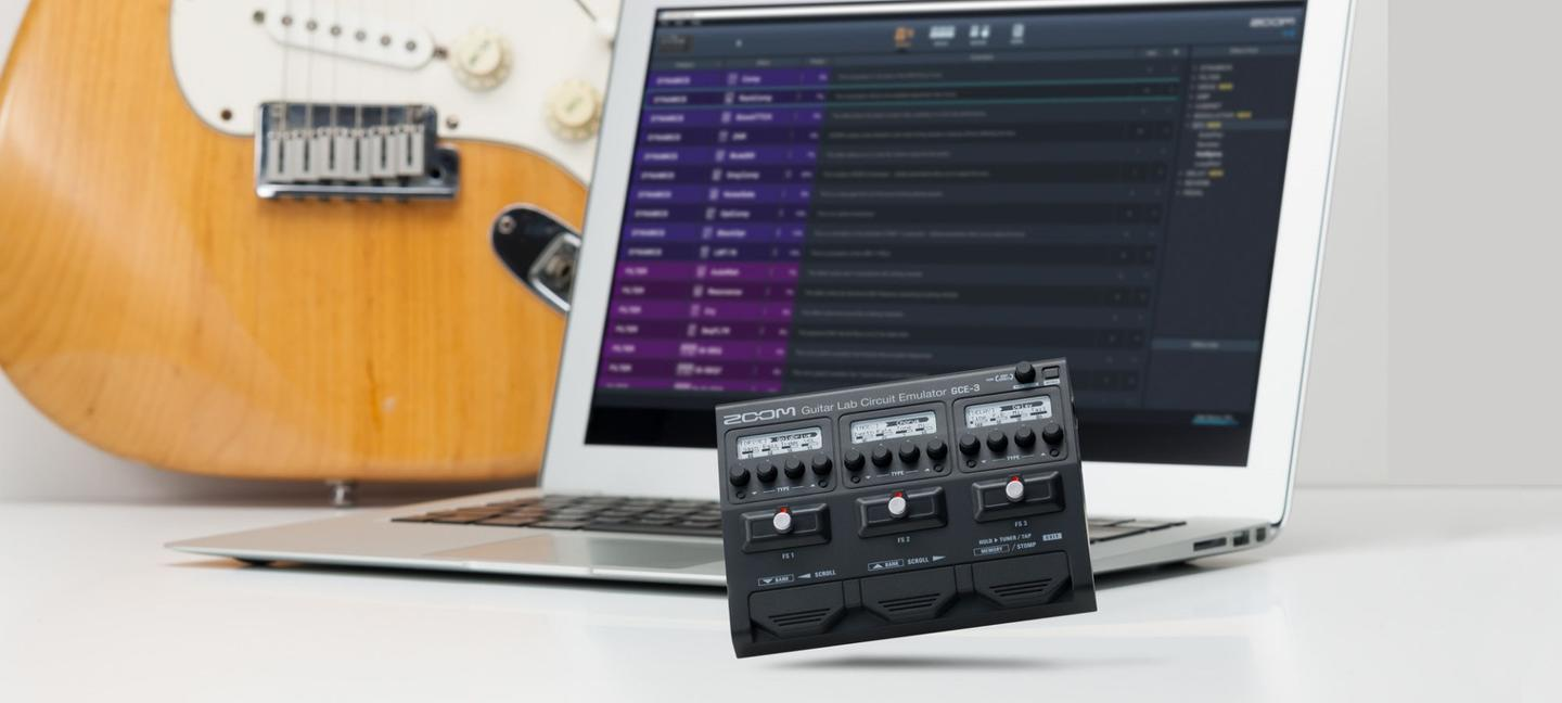 The GCE-3 interface is designed to work with Zoom's amp emulation and effects simulation software, Guitar Lab