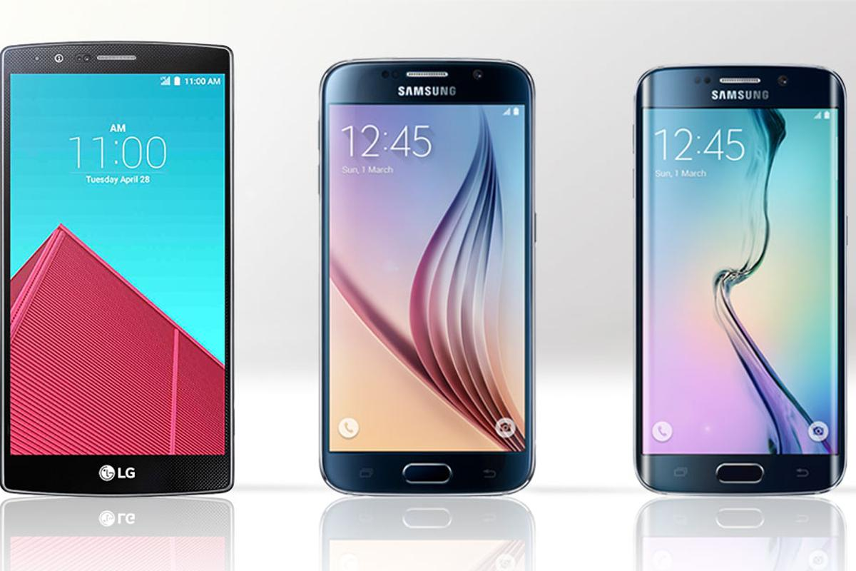 Gizmag compares the features and specs of the LG G4 (left), Galaxy S6 (center) and Galaxy S6 edge