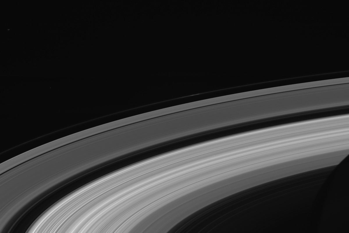 This snap of Saturn's rings was taken on September 13, two days before Cassini burnt up in the planet's atmosphere