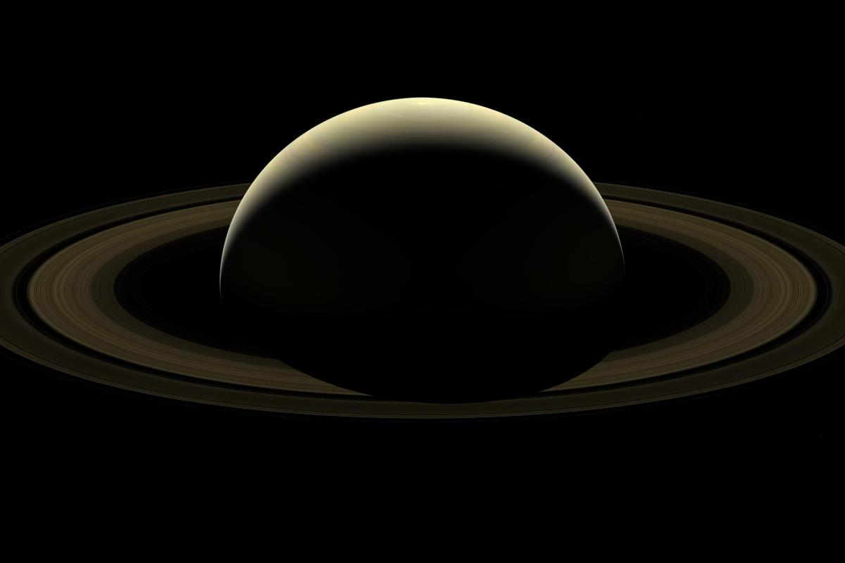 A mosaic of Saturn, its rings, and six of its moons constructed from 80 images captured by Cassini just two days prior to the end of its marathonmission