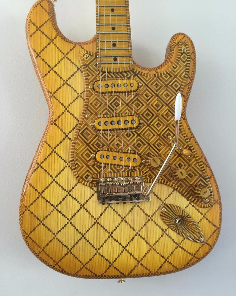 The Art Deco themed 1954 Stratocaster tribute guitar made from matchsticks