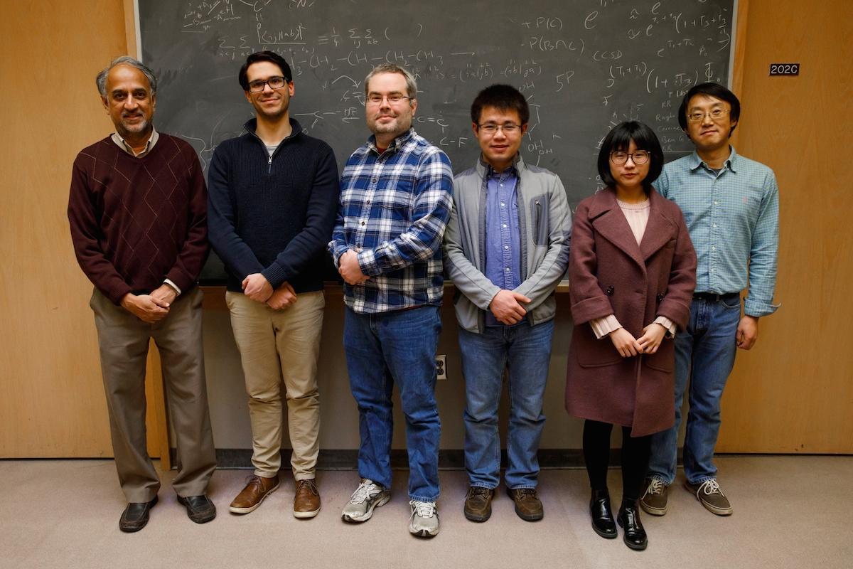 The researchers on the study, (from left)Krishnan Raghavachari, Benjamin Noffke, Richard Schaugaard, Yijun Liu, Lu Liu and Liang-shi Li