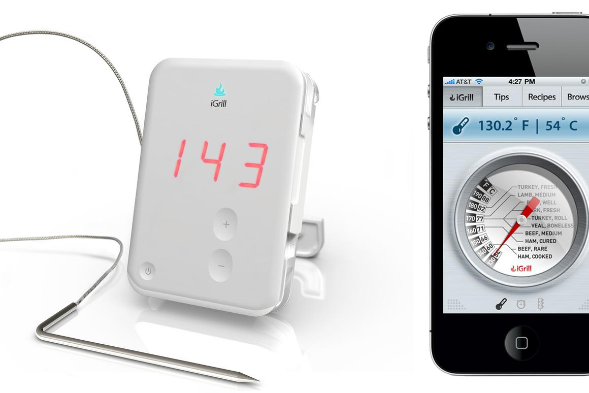 The iGrill is a cooking thermometer that transmits the temperature of cooking meat to its user's iPhone, iPod or iPad, via Bluetooth