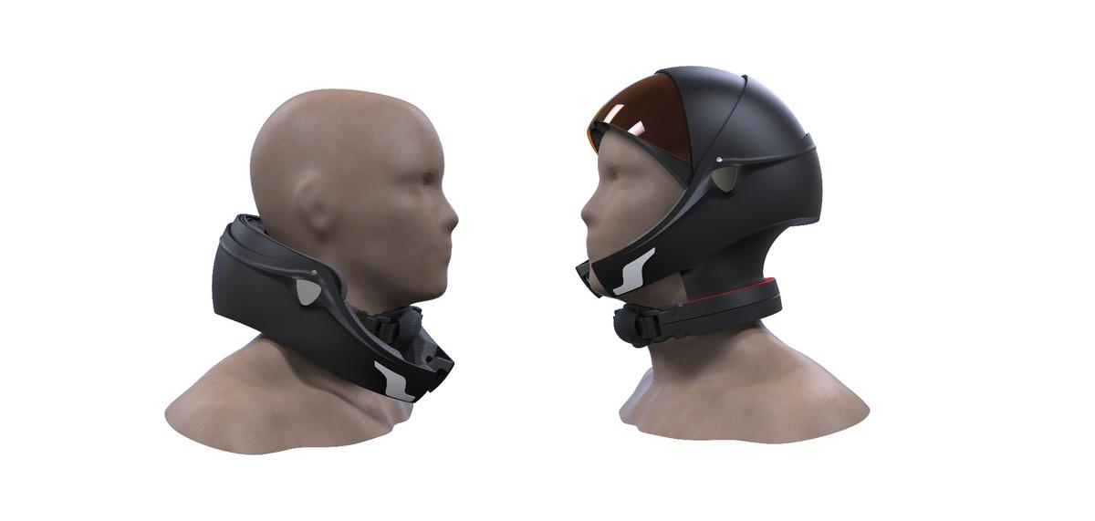 A variation of the Alpha Helmet with a chinstrap fully engaged on the right