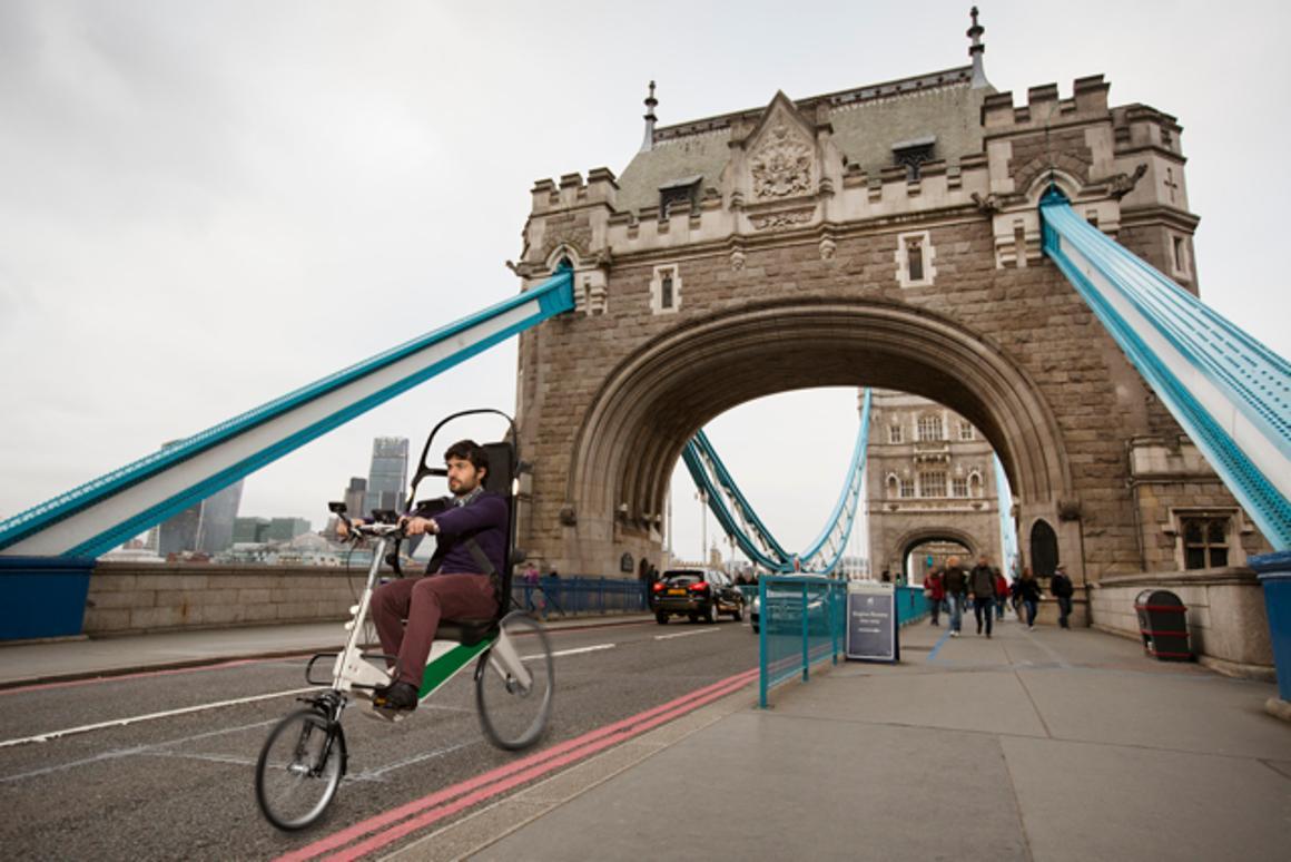 Crispin Sinclair Innovation's Babel Bike on London's Tower Bridge