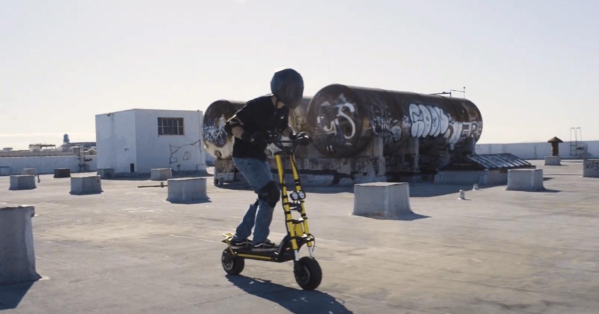 Full-suspension all-terrain super-scooter accelerates to 60 mph