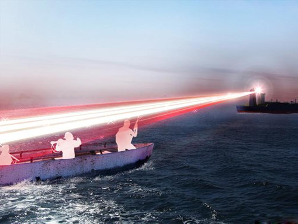 The non-lethal laser disorients pirates without any permanent damage