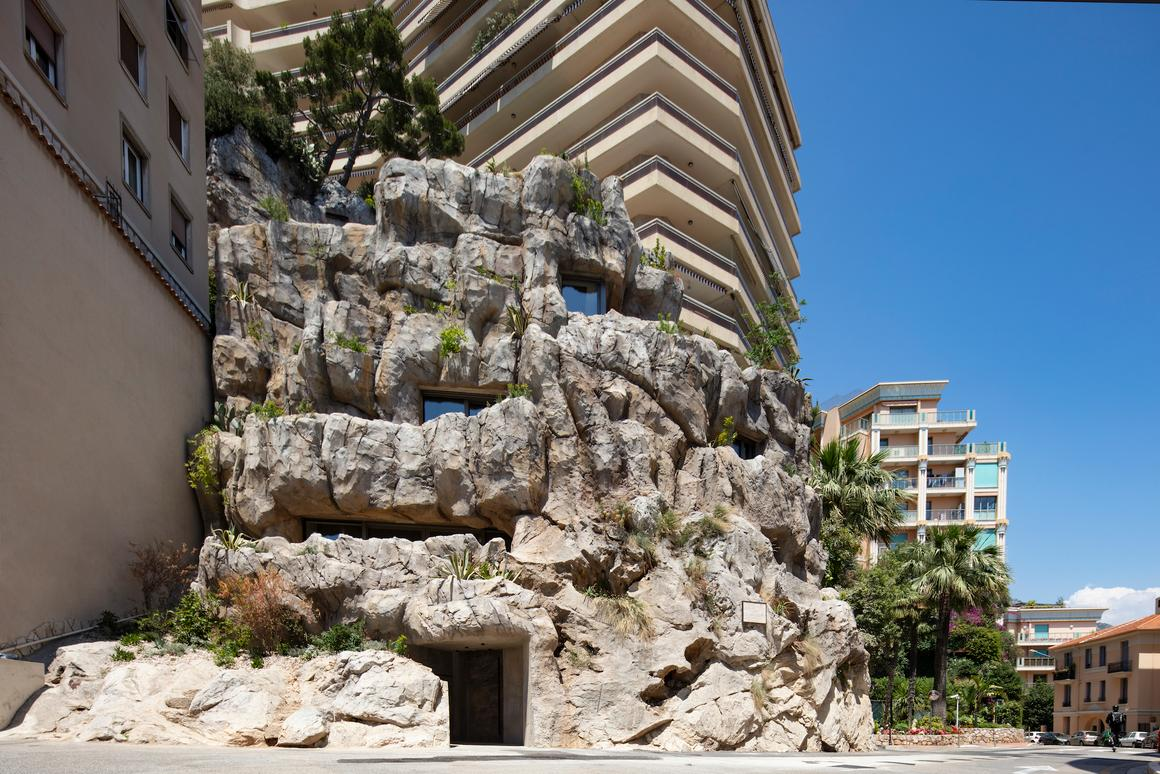 Villa Troglodyte's lower section is the original rock, while the upper area is made from concrete and artificial rock cladding