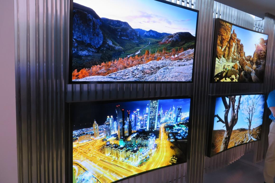 A wall of 4K TVs at CES 2014