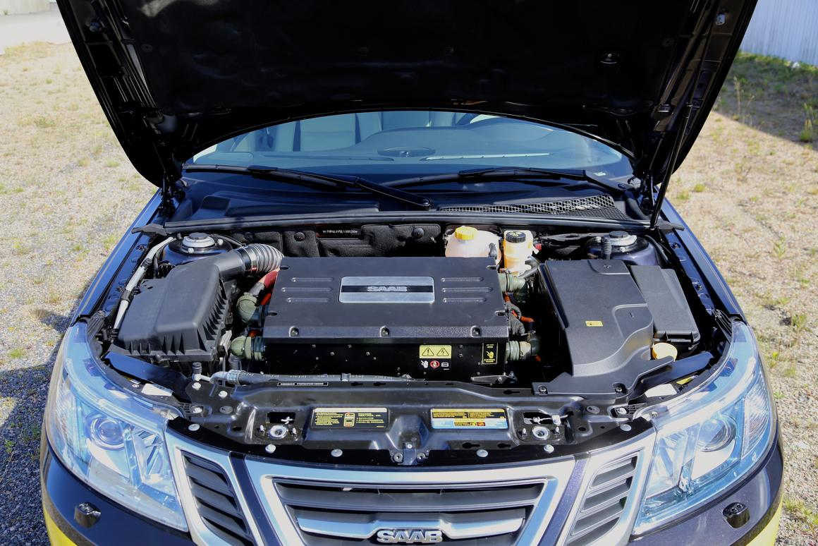 The NEVS Saab 9-3 Electric Vehicle is fitted with a 100 kW electric motor