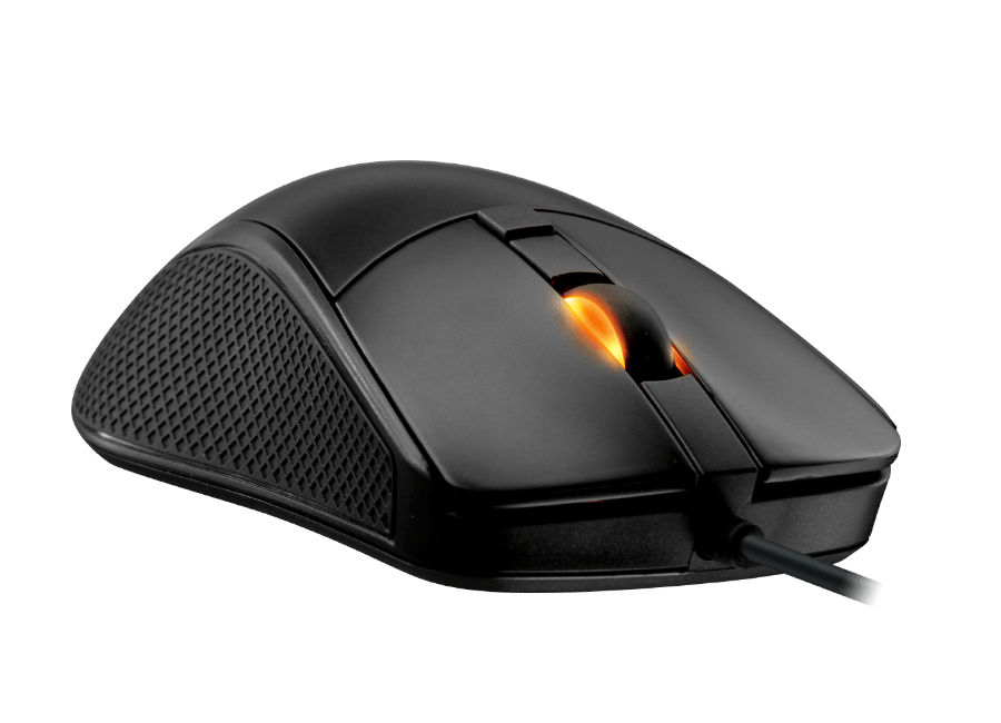 The Surpassion mouse features an adaptable palm grip and rubber flanks