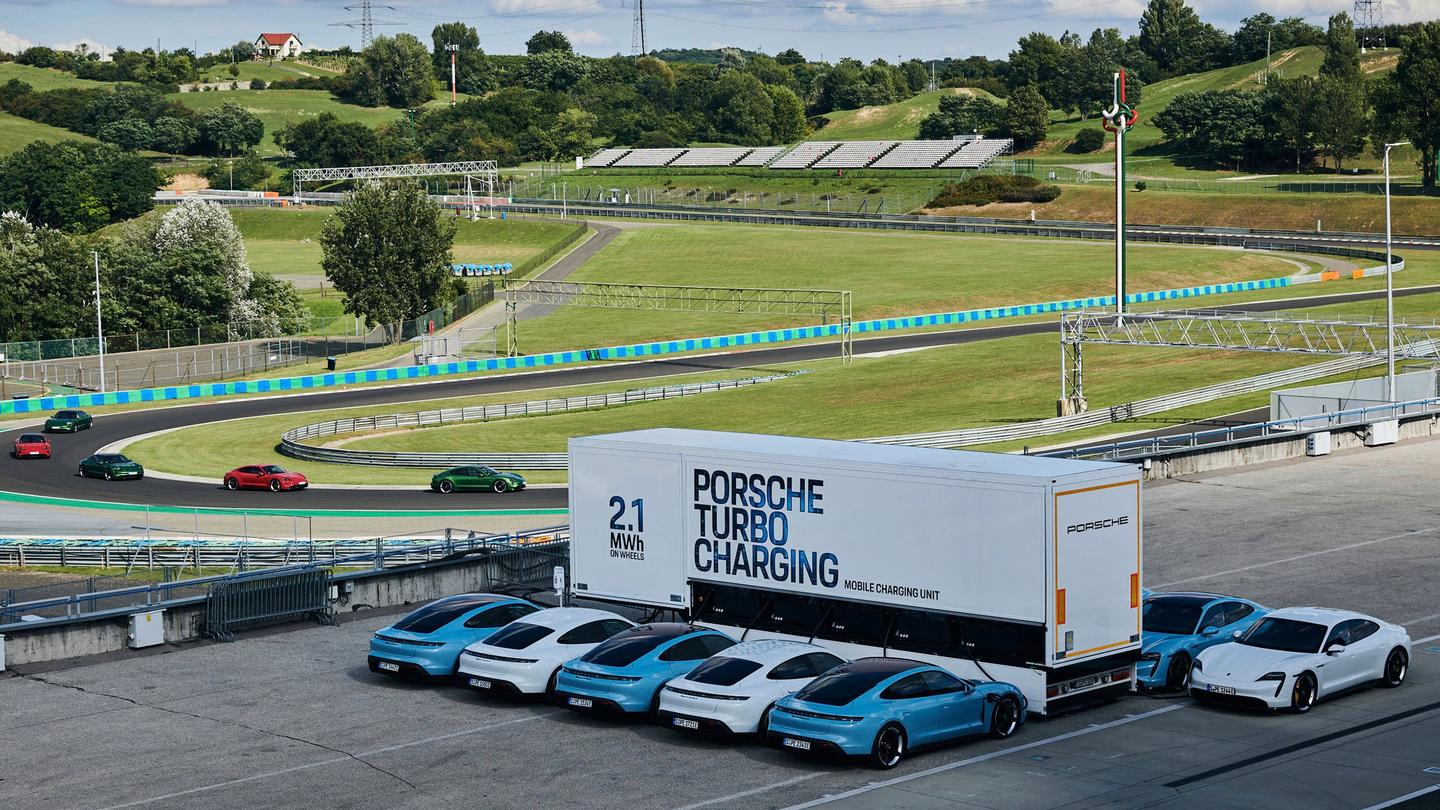 Porsche's huge mobile charging station can charge up to 10 Taycan electric supercars simultaneously