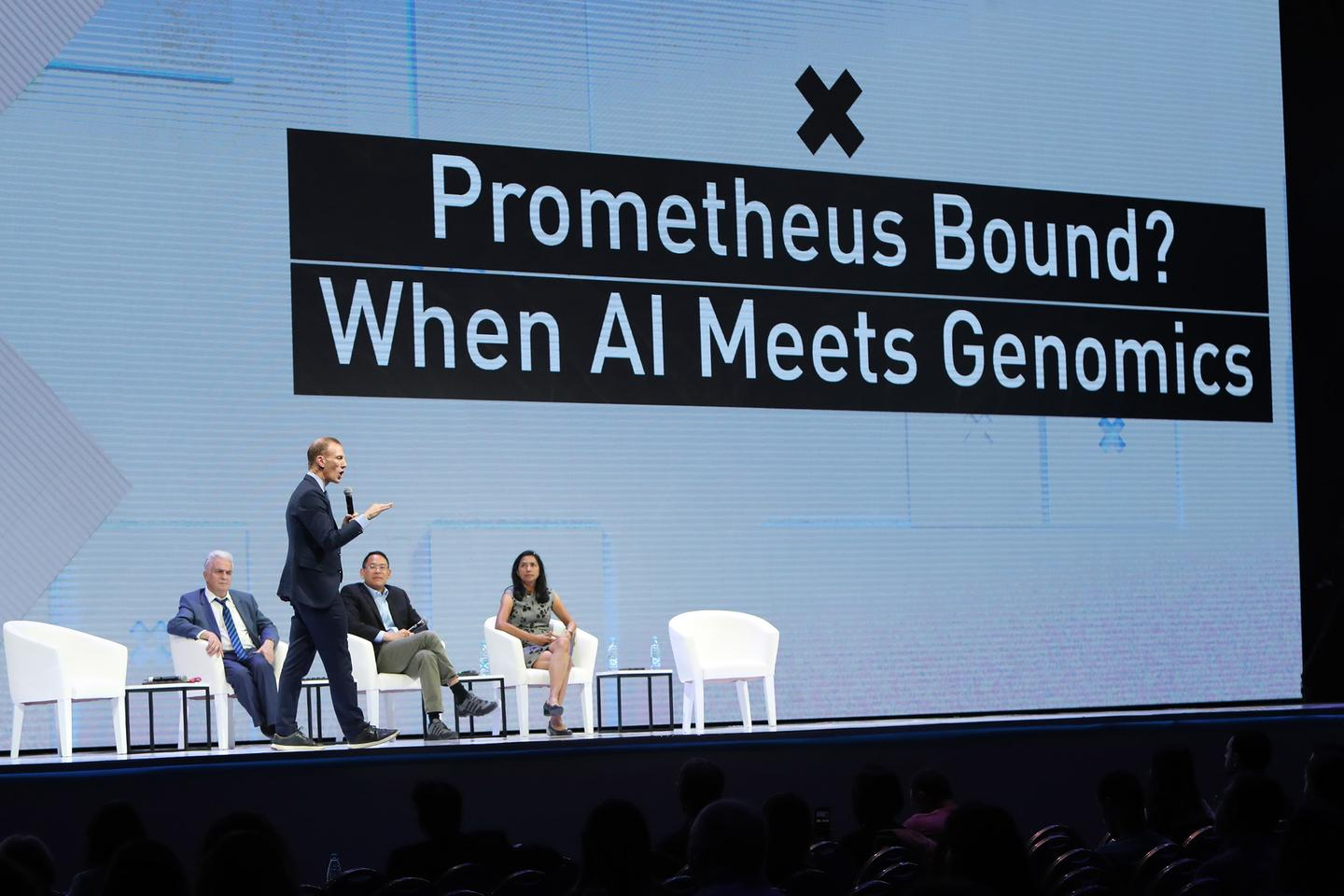"Jamie Metzl delivers the keynote for the ""Prometheus Bound: When AI Meets Genomics"" panel at WCIT Yerevan 2019"