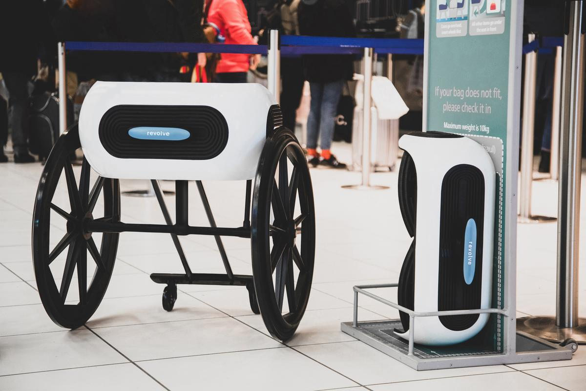 A rear view of the Revolve Air wheelchair, opened up (left) and folded down (right)
