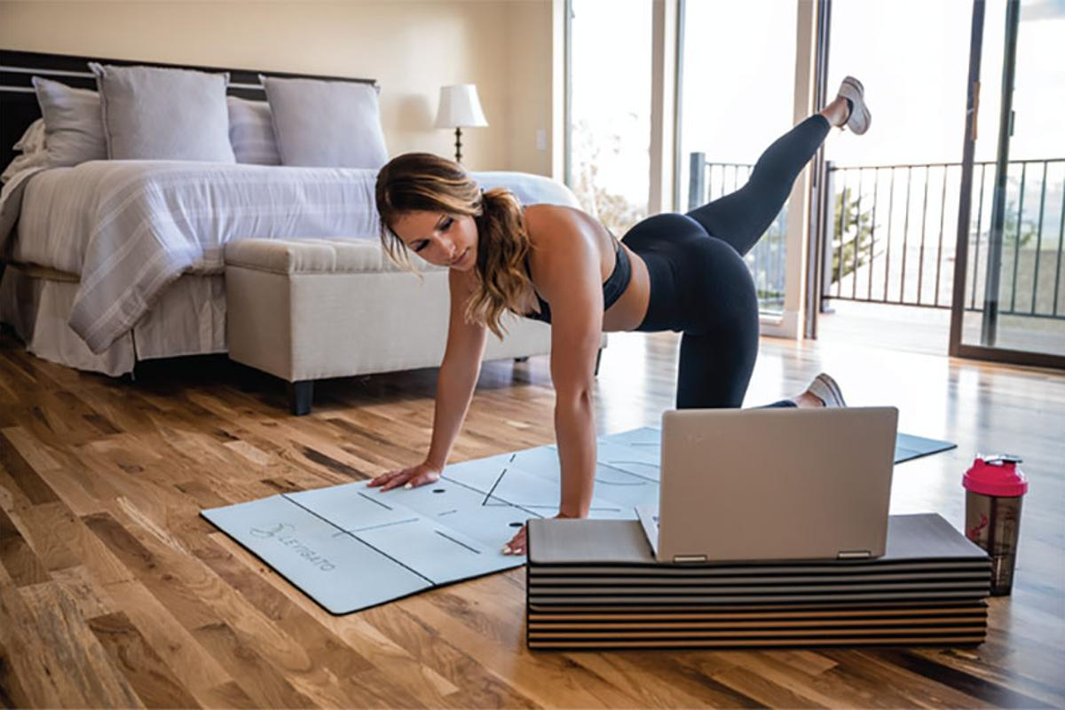 The Levigato fitness mat is foldable, portable, durable and stackable