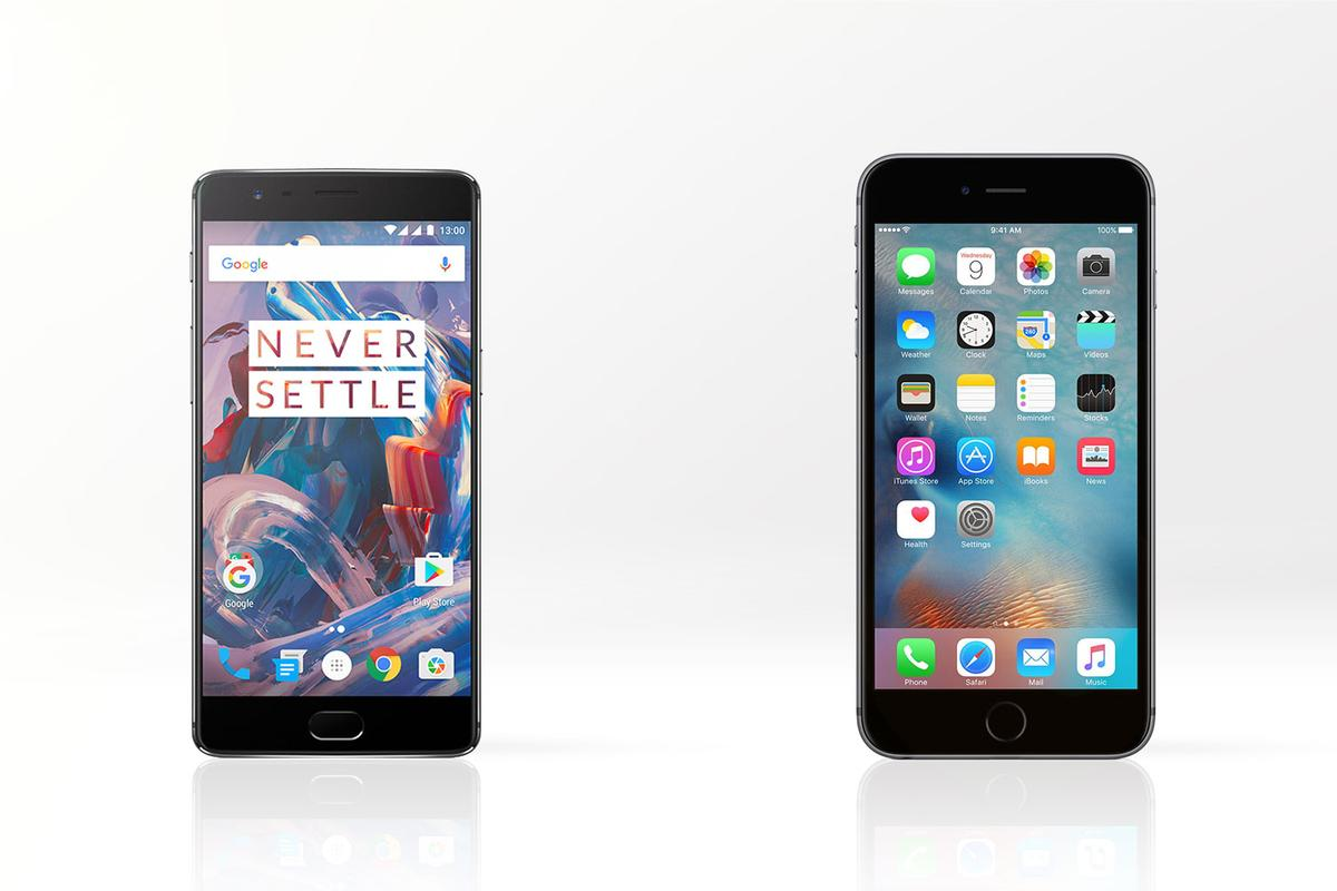 OnePlus challenges the concept of the $750 smartphone, as we compare the OnePlus 3 (left) to the iPhone 6s Plus