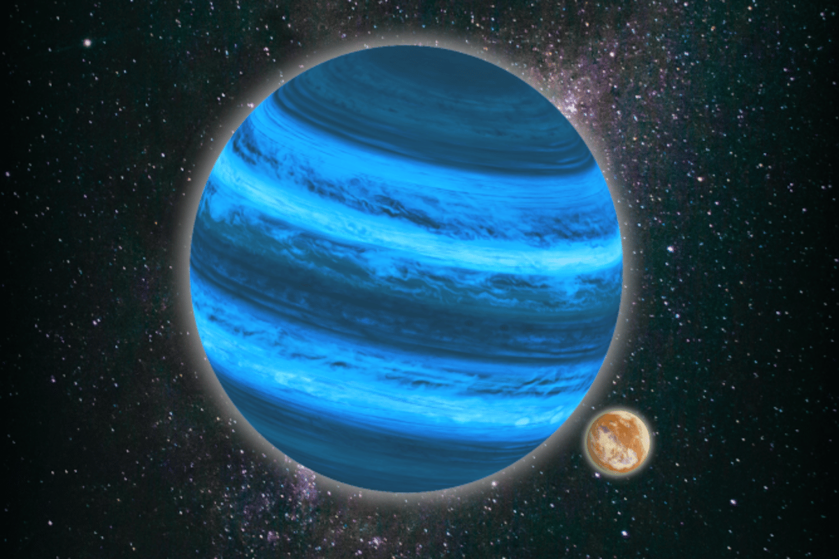 An artist's impression of an Earth-sized moon orbiting a Jupiter-sized rogue planet