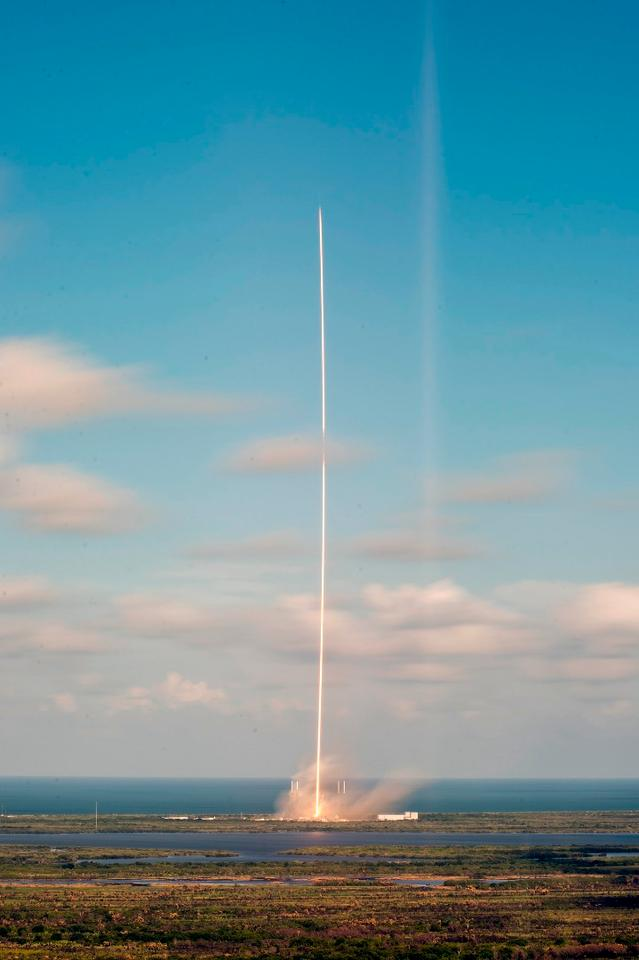 The Falcon 9 takes off