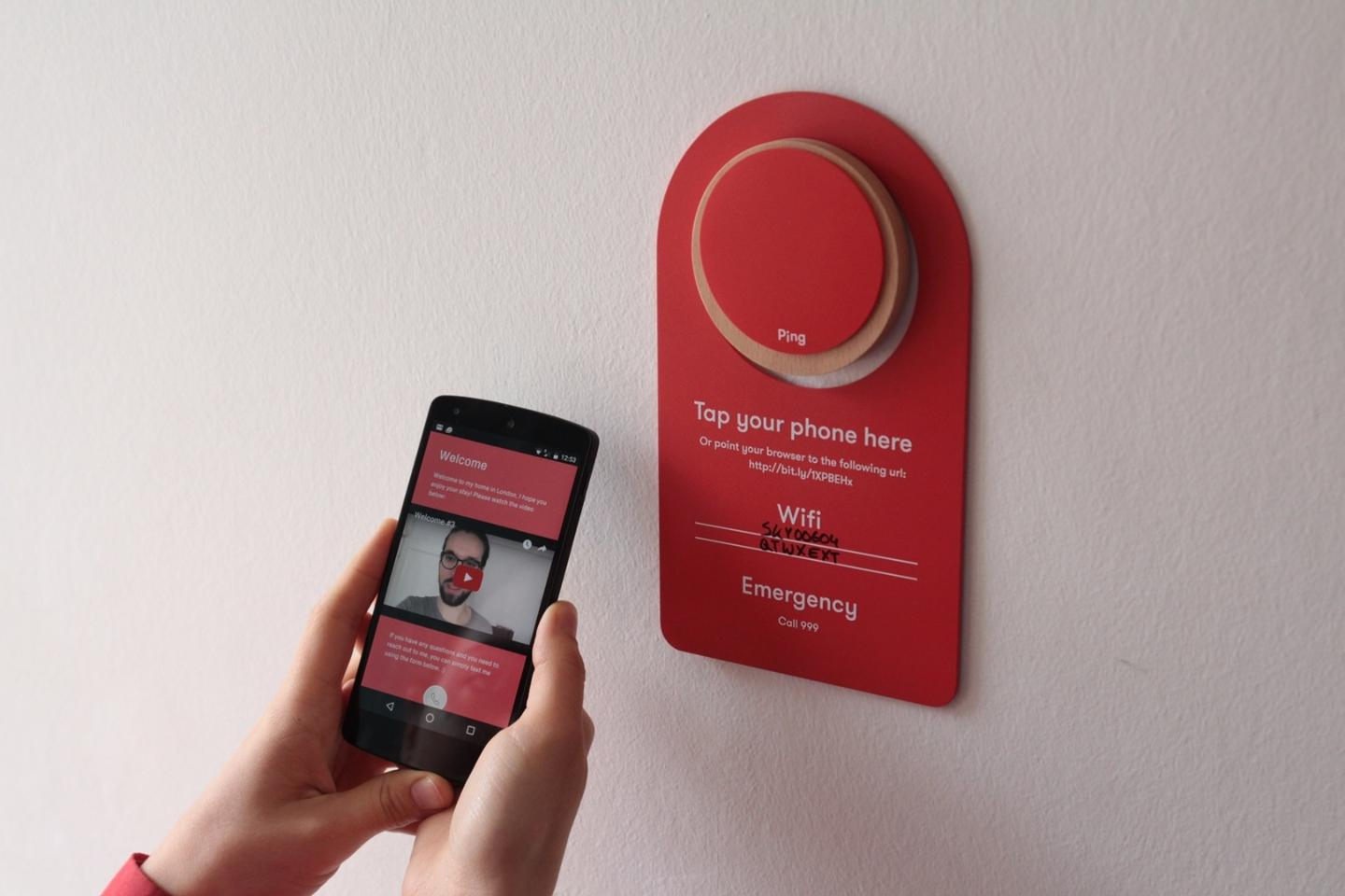 The Pings can be scanned using a smartphone's NFC or a URL can be entered into the smartphone's browser
