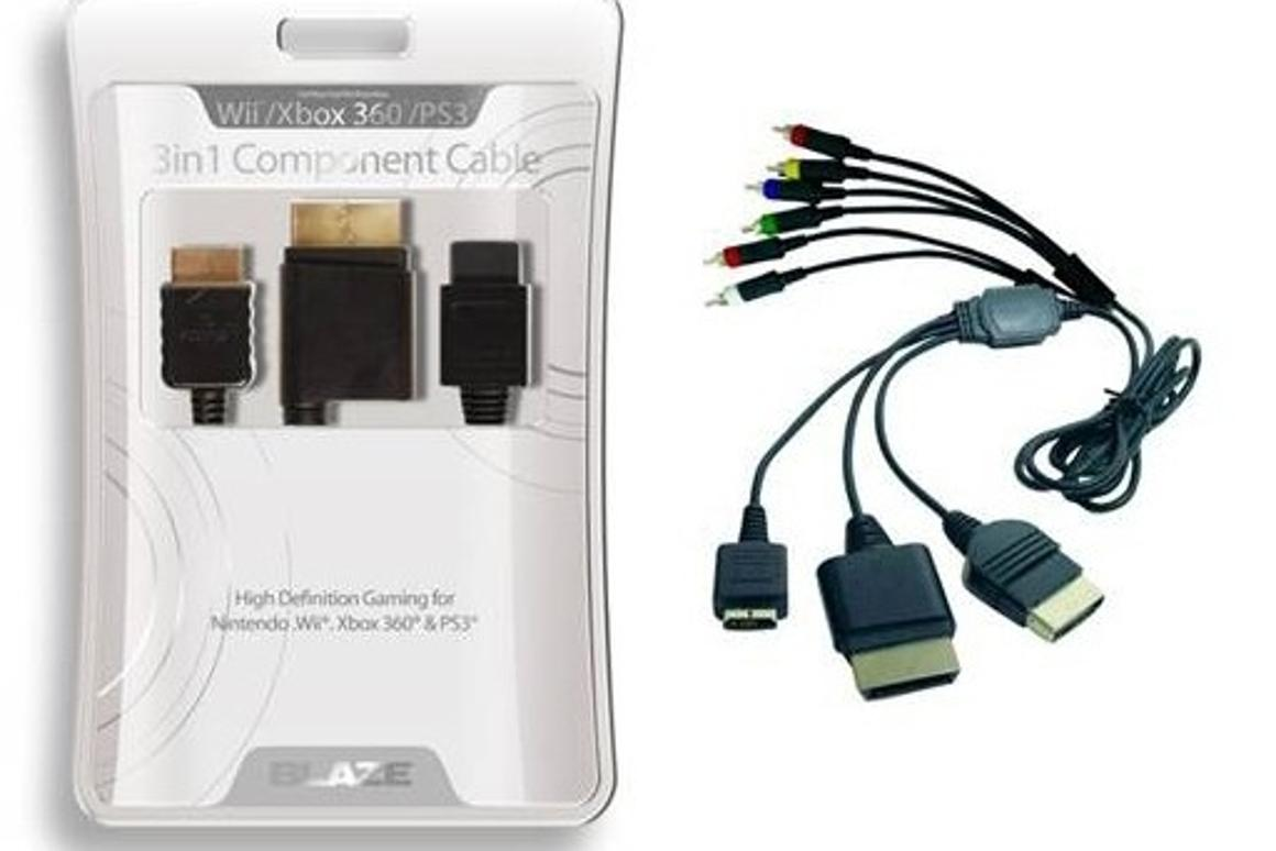 The Blaze 3-in-one component cable fits Xbox 360, PS3 and Wii consoles
