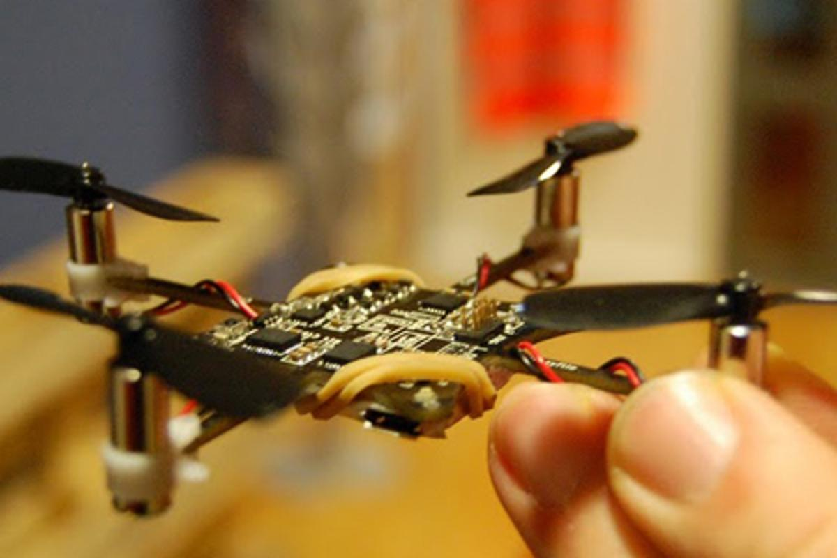 The Crazyflie quadcopter from Bitcraze has a motor-to-motor measurement of just 9 cm (3.5-in) and is supplied as a self-build development and hacking kit