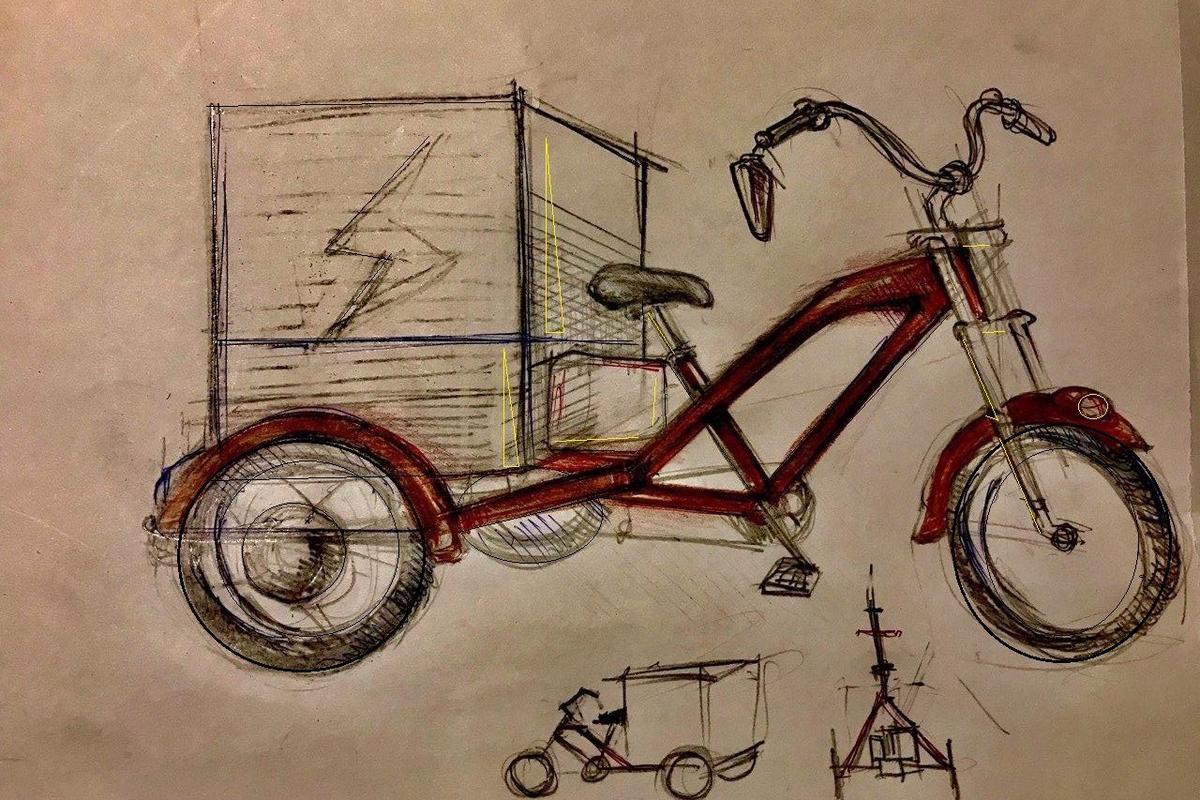 Engineer's sketch of the Delfast etrike