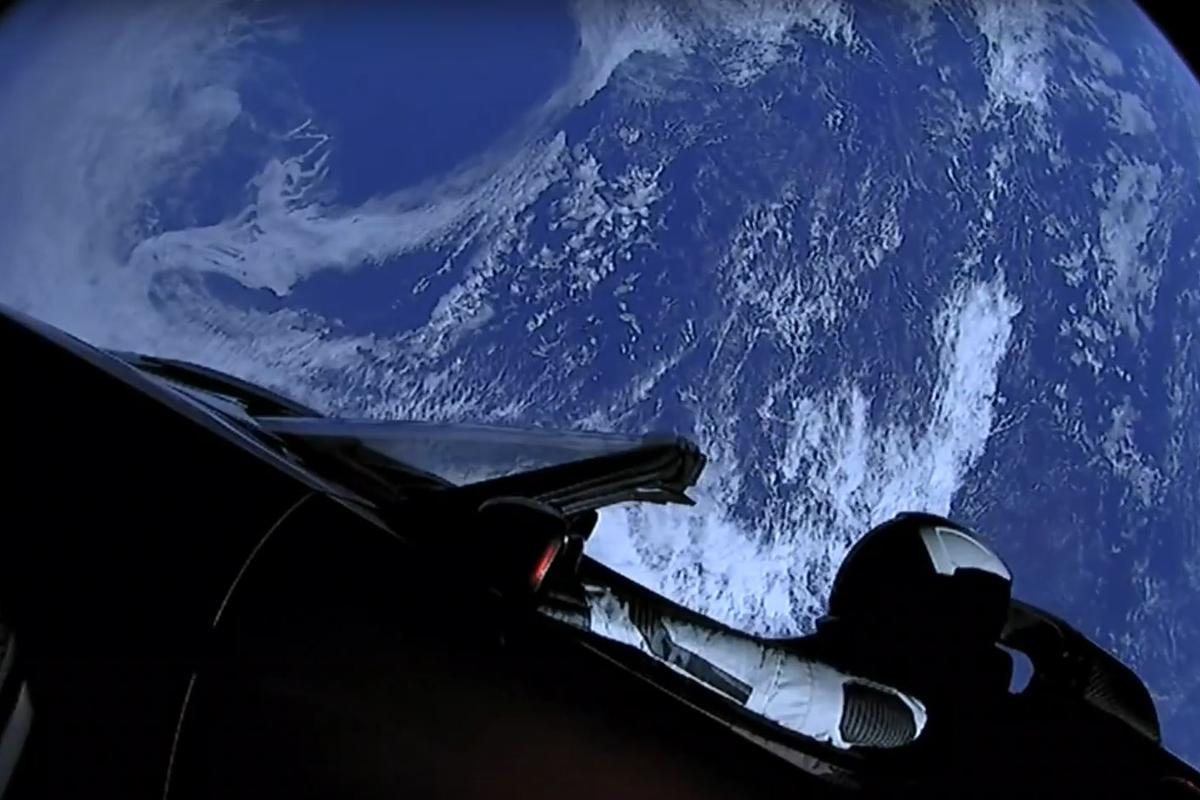 The Tesla Roadster looking like something out of 2001: A Space Odyssey