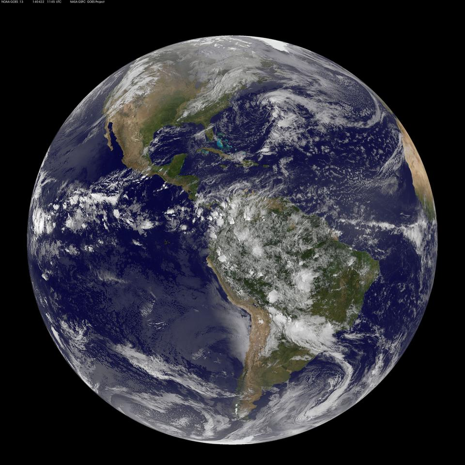 Earth as imaged from space by NOAA's GOES-East satellite