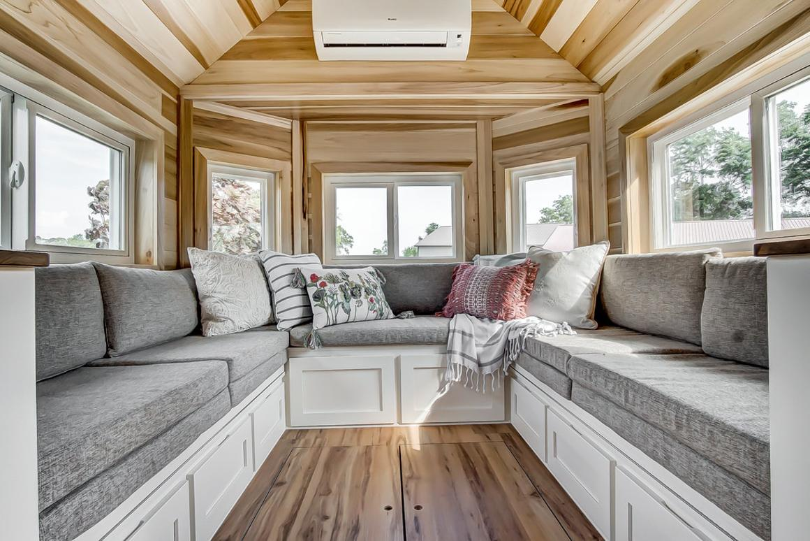 Spacious living room serves as social heart of Clover tiny house