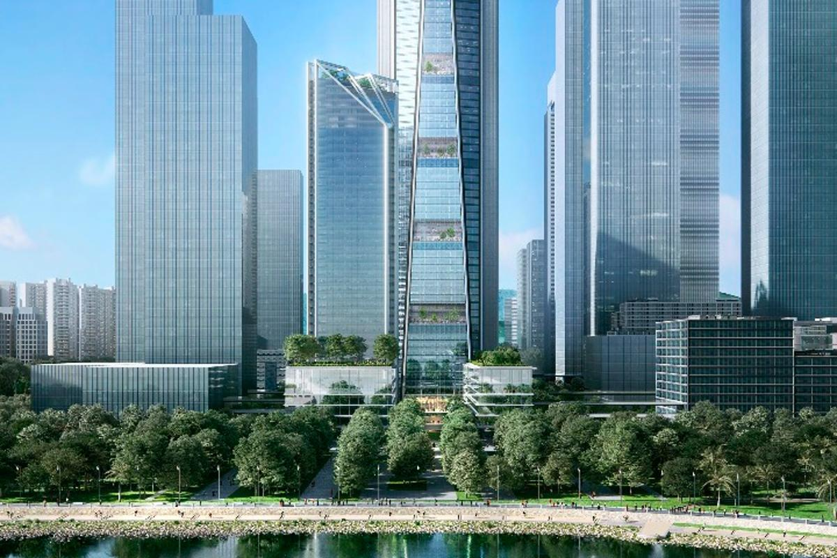 The tallest China Merchants Bank HQ tower will reach a height of 350 m (1,148 ft)