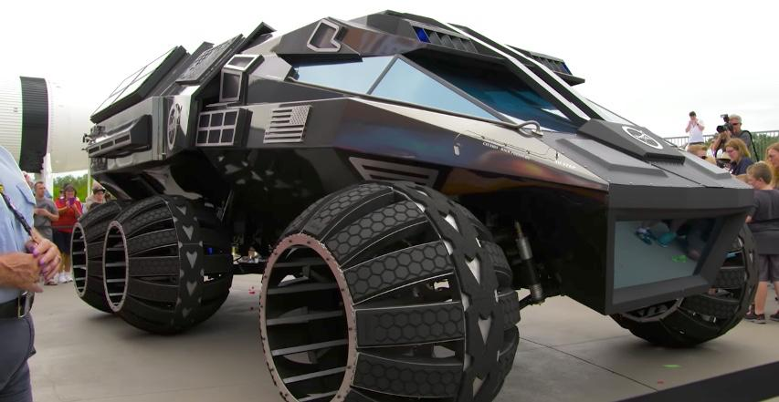 The Mars rover concept vehicle's six semi-spherical wheels are designed to provide optimal traction on both rocks and in sand