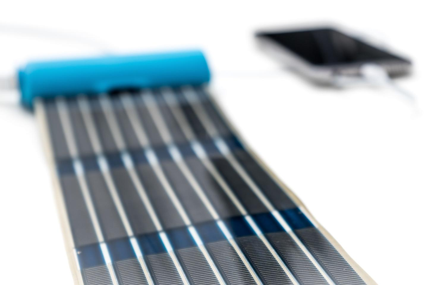 The HeLi-on solar panel is designed with polymer cells printed directly on a plastic foil