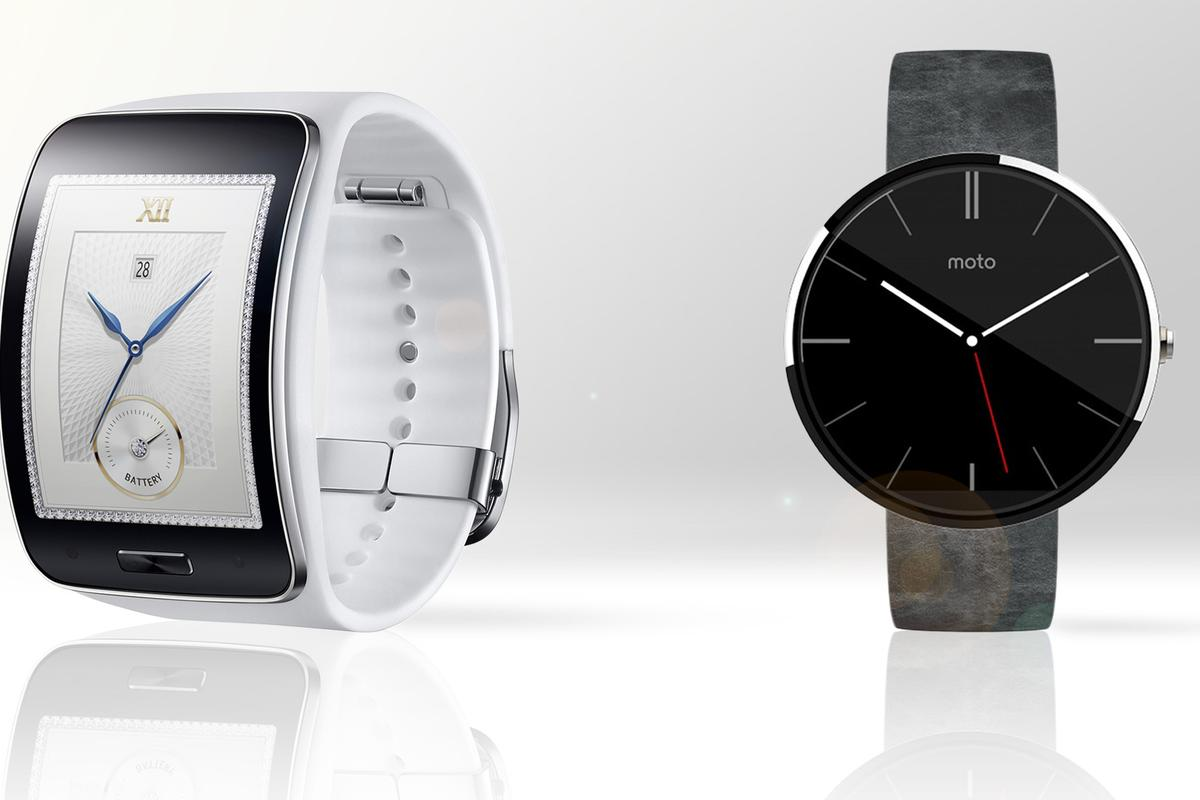 Gizmag compares the features and specs of the Samsung Gear S (left) and Motorola Moto 360 smartwatches
