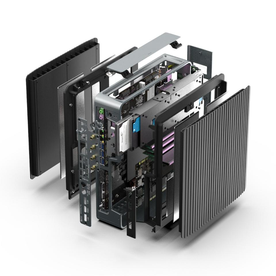 Exploded view of the Airtop2 fanless PC from CompuLab, which is passively cooled using a three-stage heat exchange system