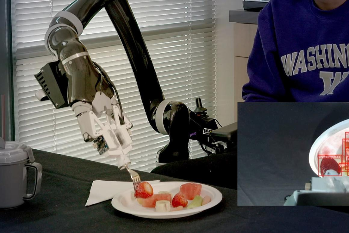 The Assistive Dexterous Arm (ADA) knows how much force to apply to pick up different types of food