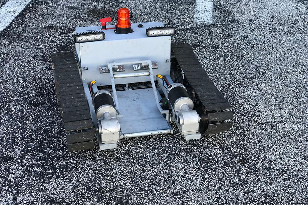 The finished Aircraft Tug, which is remote-controlled using an iPhone and has enough pulling power to trundle a Cessna 310 out of its hanger