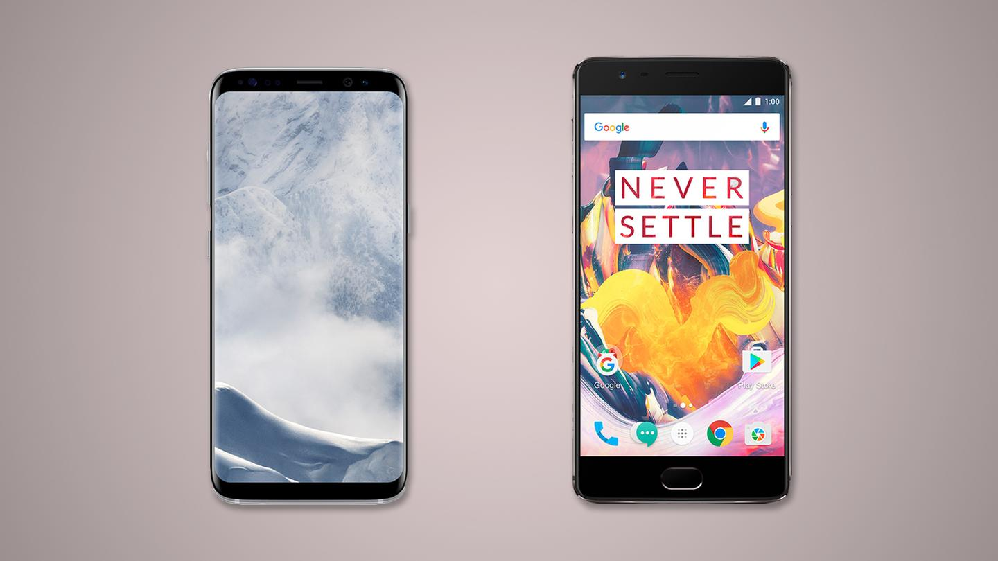 New Atlas compares the features and specs of the Samsung Galaxy S8 (left) and S8+ (not pictured) vs. the OnePlus 3T (right)