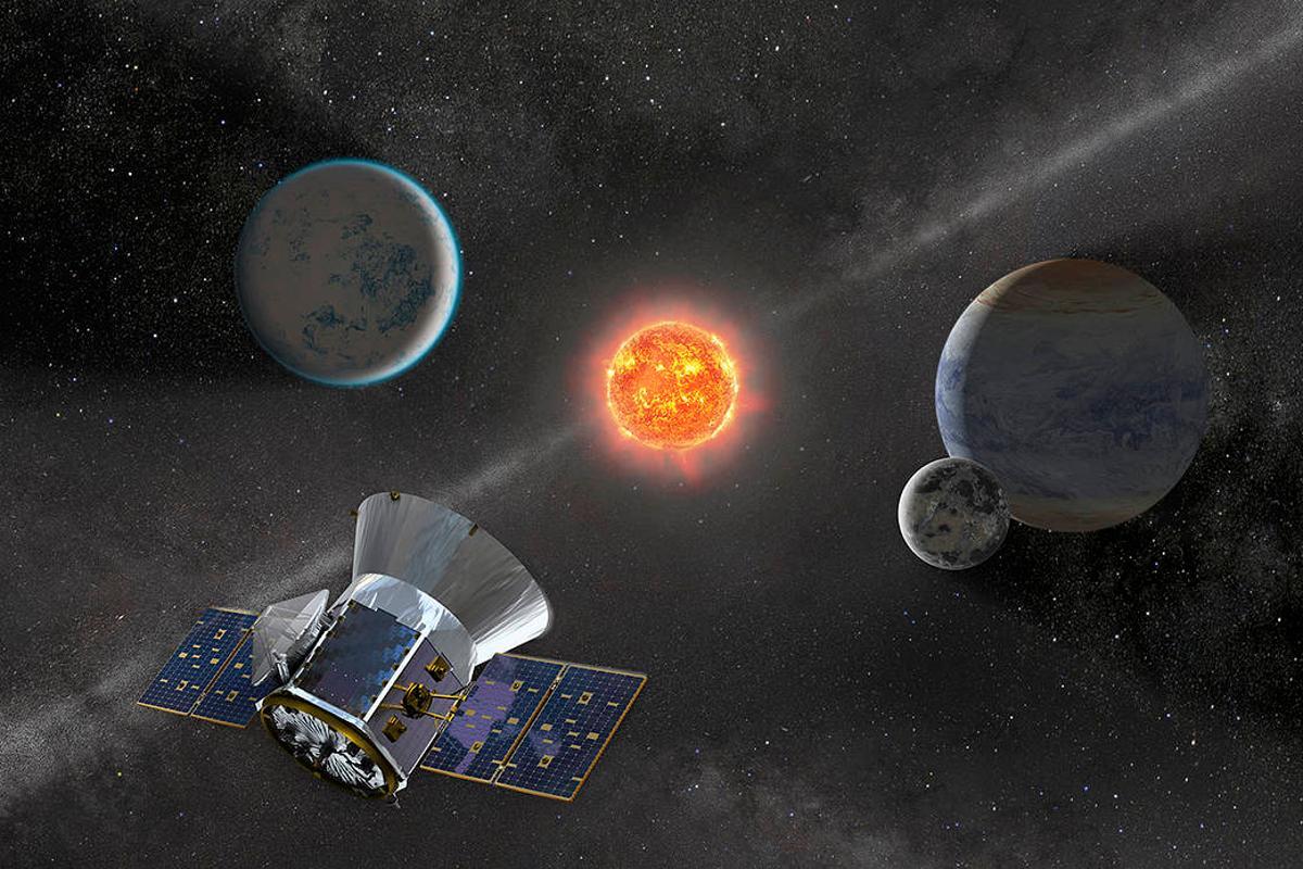 Render of TESS observing an M dwarf system