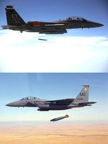 Comparison between a conventional full sized bomb and small diameter bomb. The system will first be deployed on the Boeing F-15E Strike Eagle in 2006.