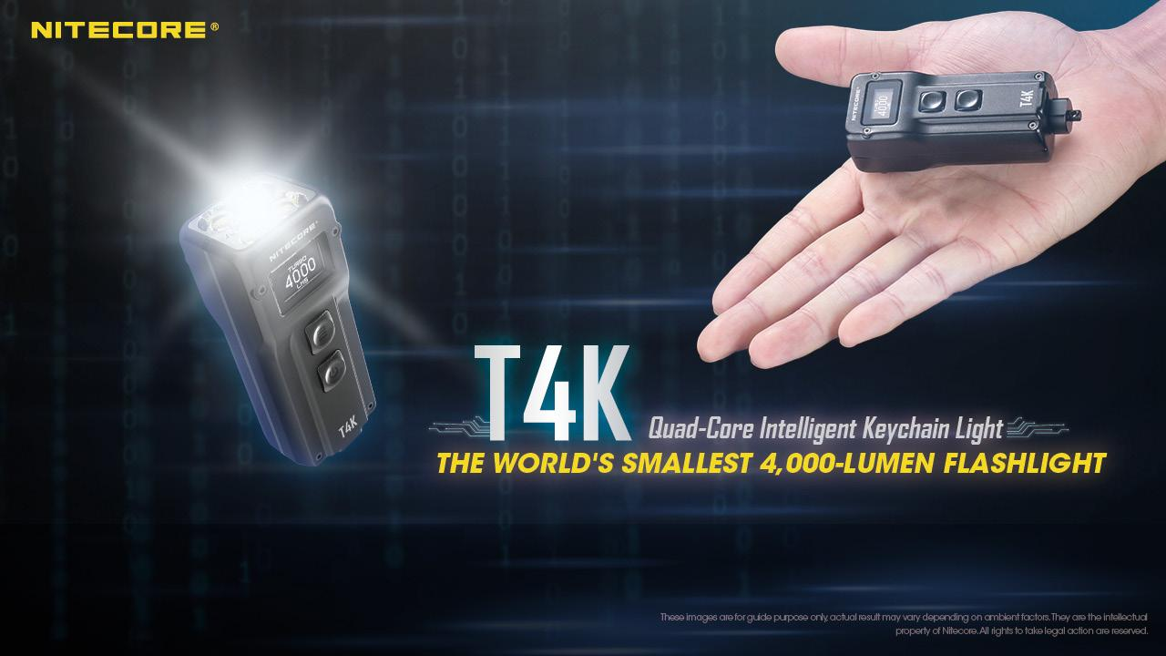 The palm-sized Nitecore T4K puts out 4,000 claimed lumens in turbo mode