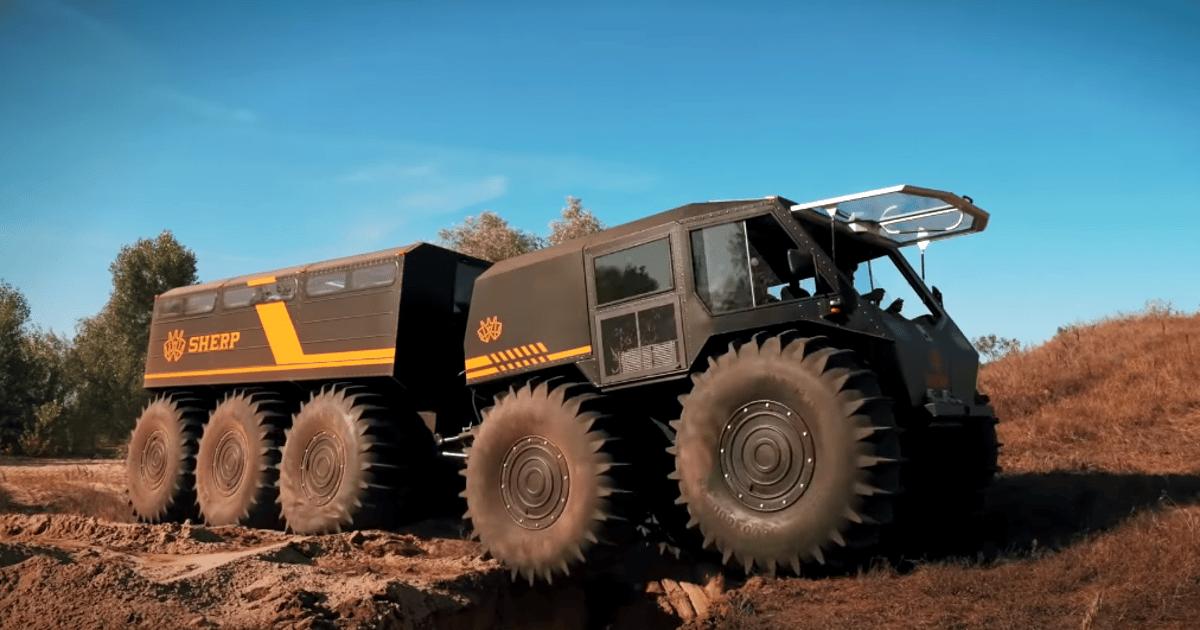 Sherp 10x10 trailer truck journeys over treacherous land and sea