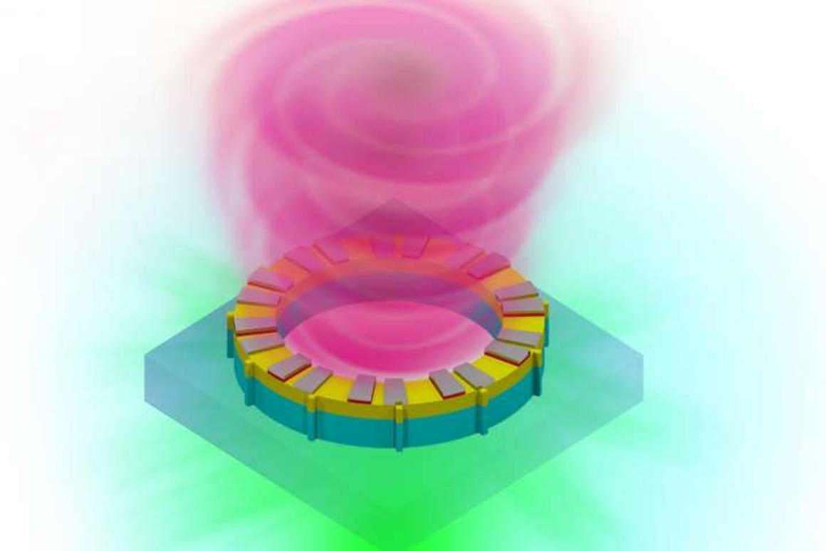 Rendering of a vortex laser on a chip