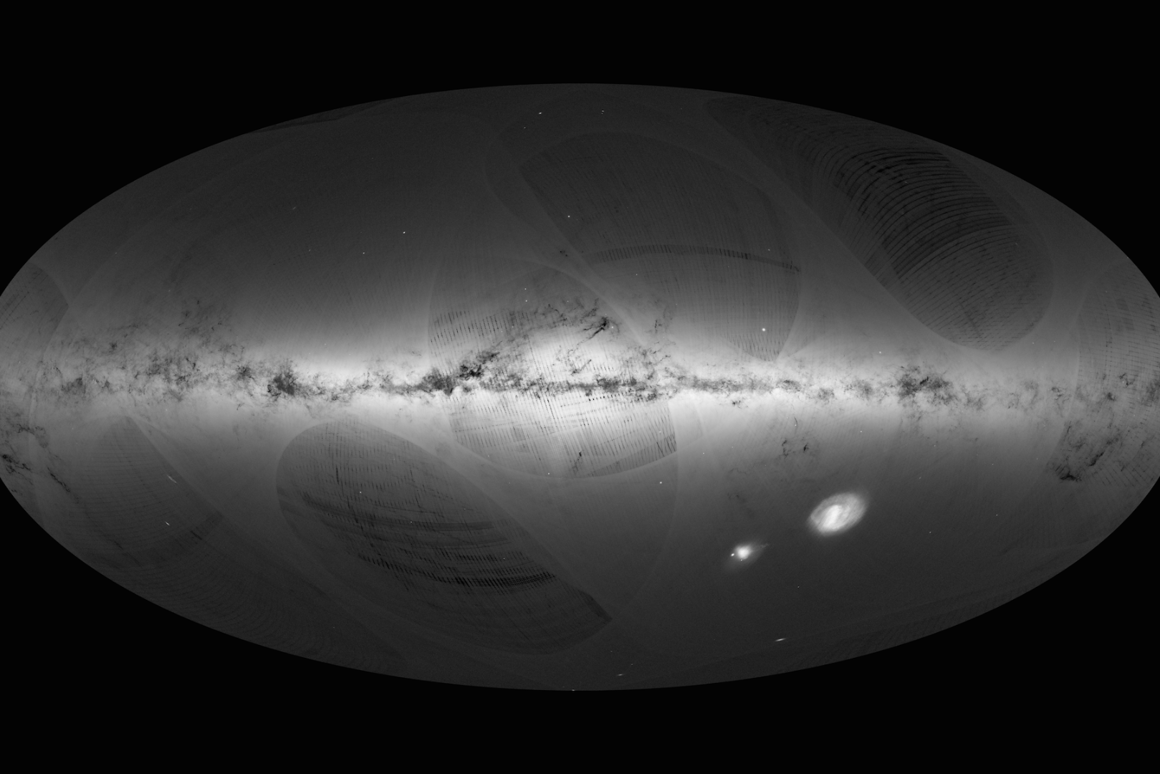 Representation of the first large scale release from ESA's Gaia satellite