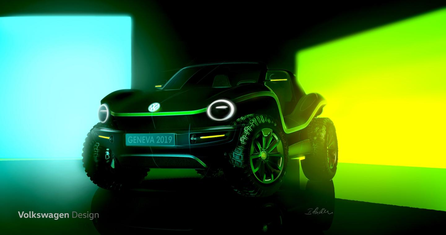 VW has teased a new electric dune buggy concept ahead of its debut at the Geneva Motor Show in March, 2019