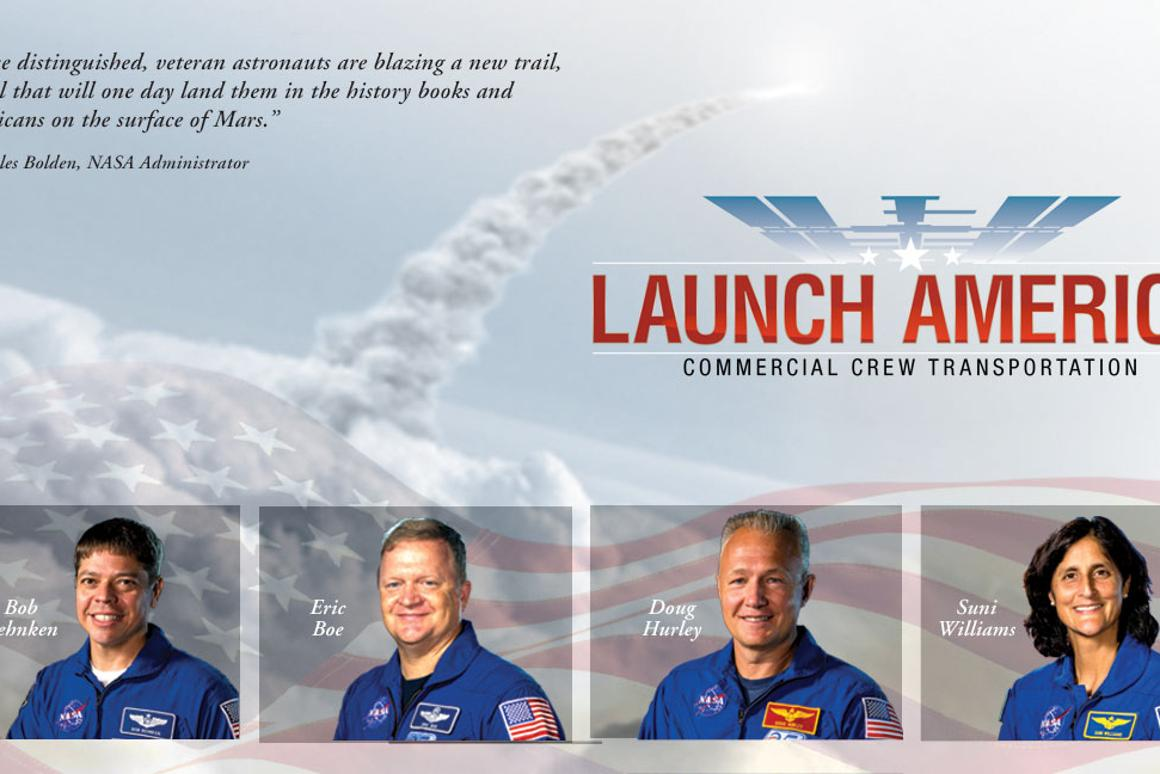 NASA has selected a team of veteran astronauts for the first US manned commercial launch, scheduled for 2017