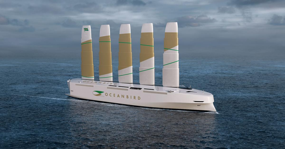 Oceanbird's huge 80-meter sails reduce cargo shipping emissions by 90%