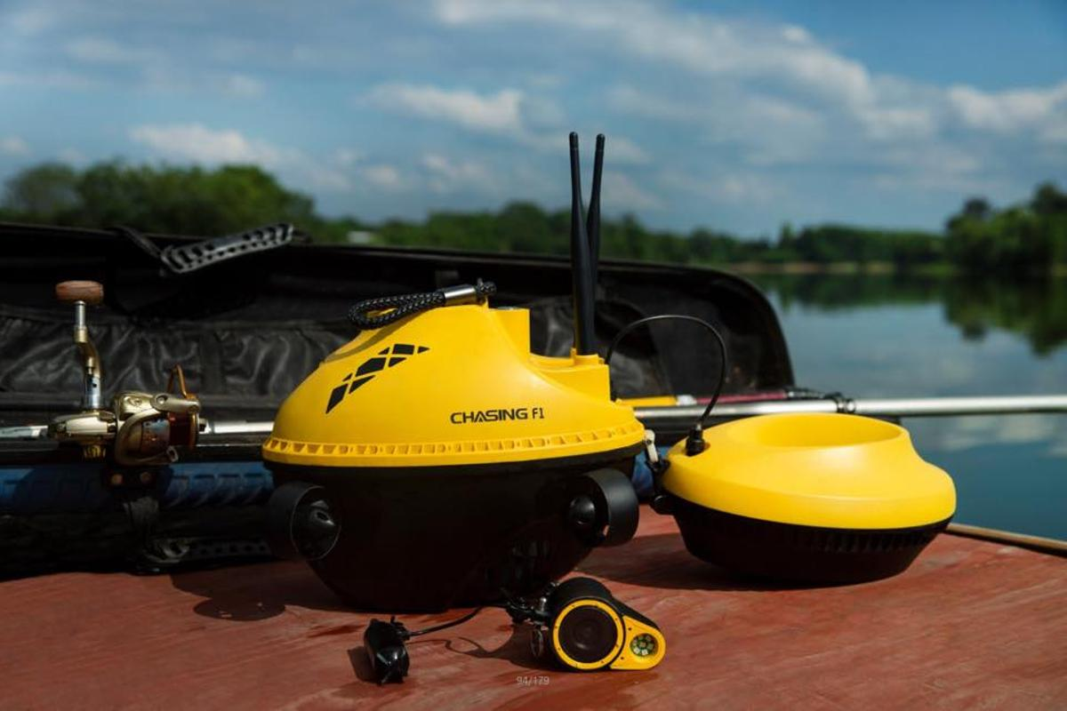 The Chasing F1 Fish Finder Drone, with its tethered camera out front and the optional bait dispenser behind
