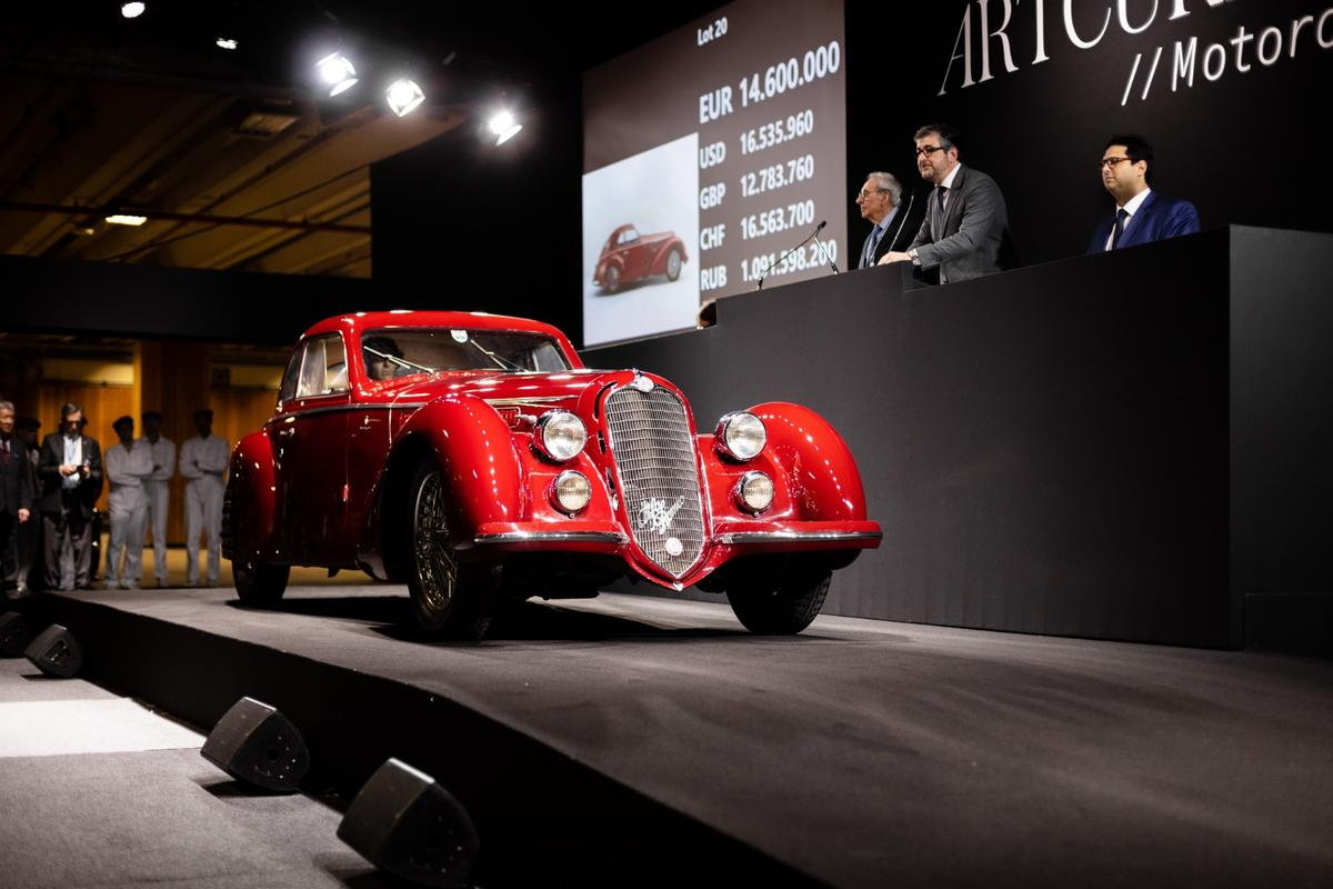 In selling for $19 million to an American collector, this 1939 Alfa Romeo 8C 2900 B Touring Berlinetta became the third most expensive pre-war car ever to sell at auction