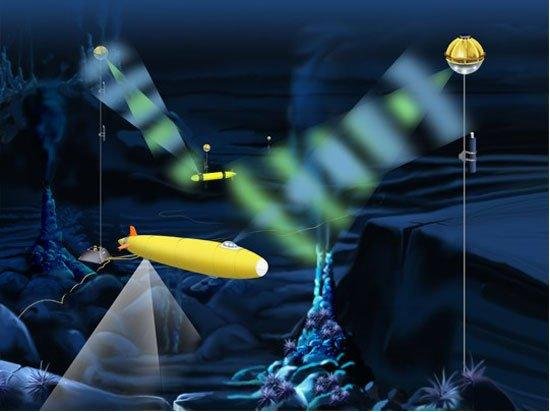 An artist's conception of how the optical modem could function at a deep ocean cabled observatory (E. Paul Oberlander, Woods Hole Oceanographic Institution)