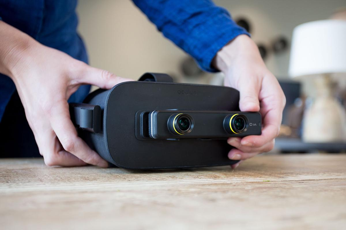 The ZED mini clips on to an HTC Vive or an Oculus Rift to add AR smarts
